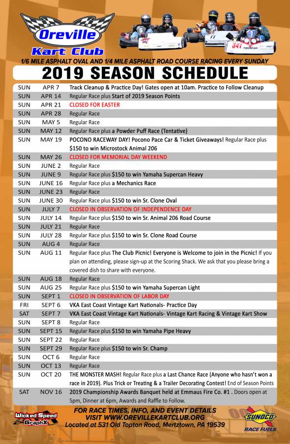 The 2019 Oreville Kart Club Season Schedule is Released